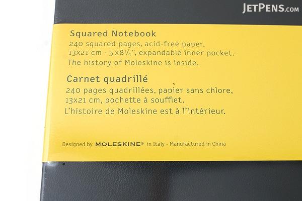 "Moleskine Classic Notebook - Black - 5"" x 8.25"" - 5 mm Graph - MOLESKINE 978-88-8370-113-9"