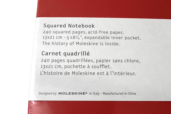 "Moleskine Classic Notebook - Red - 5"" x 8.25"" - 5 mm Graph - MOLESKINE 978-88-6293-033-8"