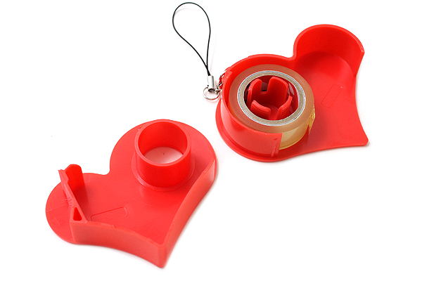 Nichiban Heart-Shaped Tape Dispenser - Red - 15 mm X 8 m - NICHCIBAN TC-15HRD