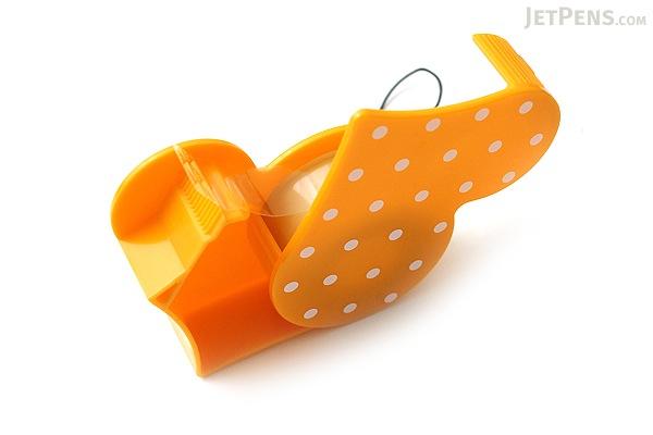 Nichiban Heart-Shaped Tape Dispenser - Mandarin Orange - 15 mm X 8 m - NICHCIBAN TC-15HMO
