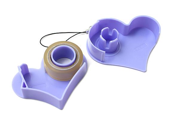 Nichiban Heart-Shaped Tape Dispenser - Lavender - 15 mm X 8 m - NICHCIBAN TC-15HLD