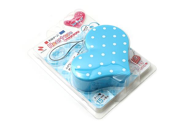 Nichiban Heart-Shaped Tape Dispenser - Turquoise Blue - 15 mm X 8 m - NICHCIBAN TC-15HTB