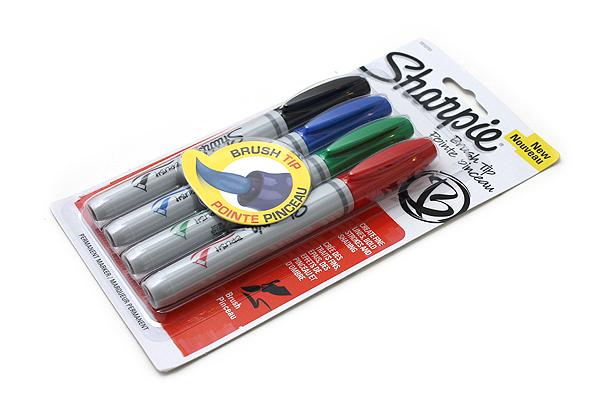 Sharpie Brush Tip Permanent Marker - Basic 4 Color Set - SANFORD 1810701