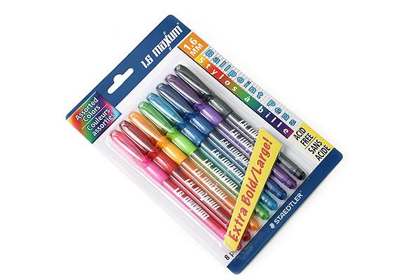 Staedtler 1.6 Maxum Ballpoint Pen - 1.6 mm - 8 Color Set - STAEDTLER 9824BBK8