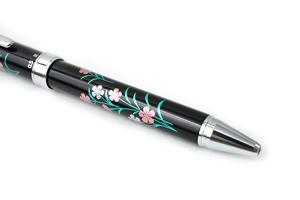 Pilot 2+1 Miyabi Emaki 2 Color 0.7 mm Ballpoint Multi Pen + 0.5 mm Pencil - Pink Nadeshiko Flower - PILOT BTHM-3SR-NK
