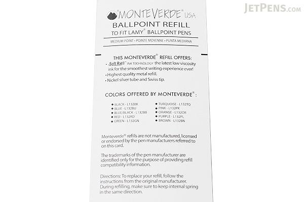 Monteverde Soft Roll Ballpoint Pen Refill for Lamy - Orange - Pack of 2 - MONTEVERDE L132OR