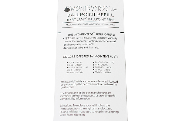 Monteverde Soft Roll Ballpoint Pen Refill for Lamy - Blue - Pack of 2 - MONTEVERDE L132BU
