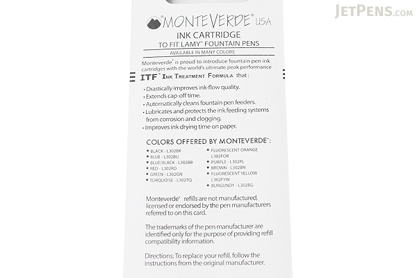 Monteverde Fountain Pen Ink Cartridge for Lamy - Blue - Pack of 5 - MONTEVERDE L302BU