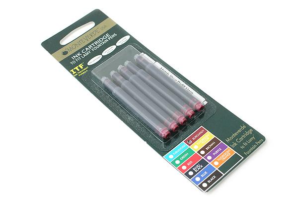 Monteverde Fountain Pen Ink Cartridge for Lamy - Burgundy - Pack of 5 - MONTEVERDE L302BG