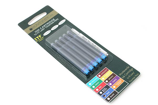 Monteverde Fountain Pen Ink Cartridge for Lamy - Blue - Pack of 5 - MONTEVERDE L302BU