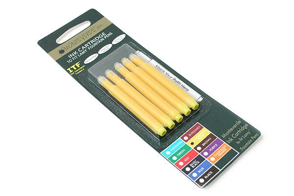 Monteverde Fountain Pen Ink Cartridge for Lamy - Fluorescent Yellow - Pack of 5 - MONTEVERDE L302FYW
