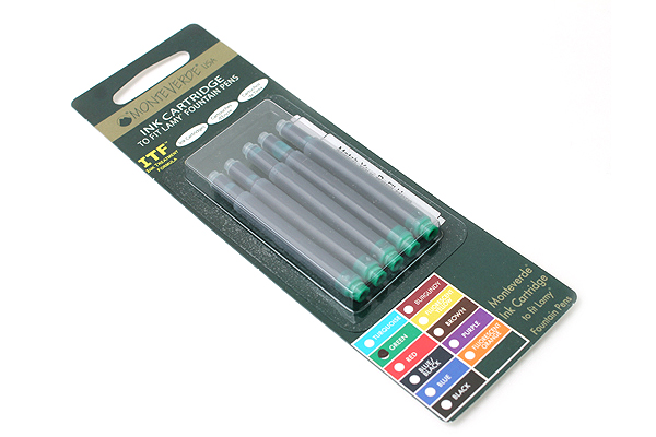 Monteverde Fountain Pen Ink Cartridge for Lamy - Green - Pack of 5 - MONTEVERDE L302GN