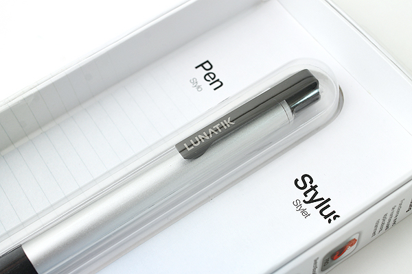LunaTik Alloy Touch Pen - 0.7 mm Roller Ball Pen + Stylus - Silver Body - LUNATIK PASLV-020
