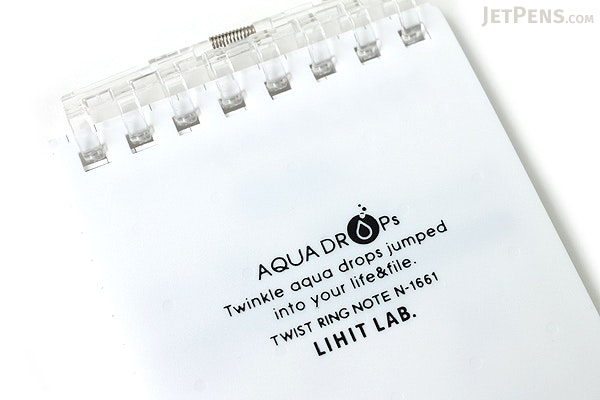 "Lihit Lab Aqua Drops Twist Ring Memo Notepad - 2.8"" X 4.7"" - 5 mm Graph - 40 Sheets - White - LIHIT LAB N-1661-0"
