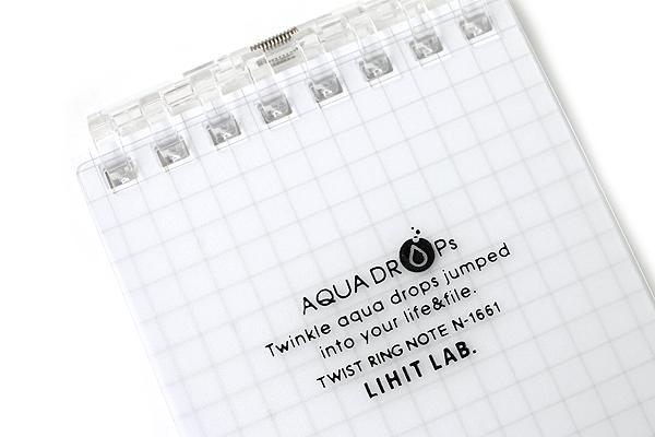 "Lihit Lab Aqua Drops Twist Ring Memo Notepad - 2.8"" X 4.7"" - 5 mm Graph - 40 Sheets - Milky White Clear - LIHIT LAB N-1661-1"