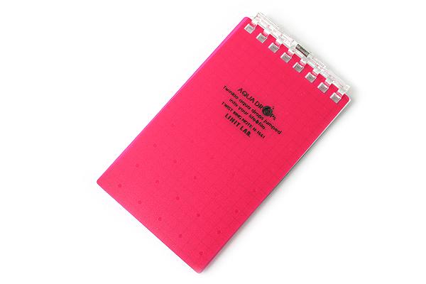 "Lihit Lab Aqua Drops Twist Ring Memo Notepad - 2.8"" X 4.7"" - 5 mm Graph - 40 Sheets - Red Pink - LIHIT LAB N-1661-3"