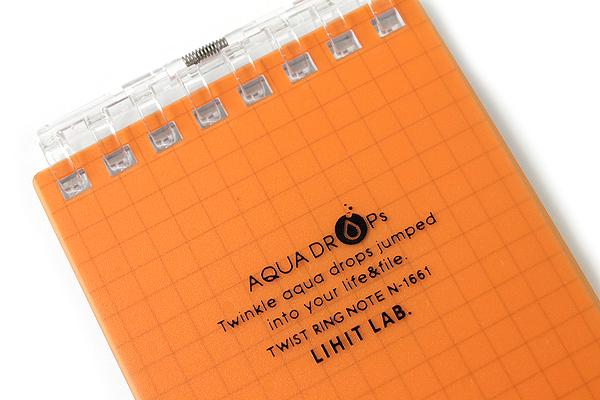 "Lihit Lab Aqua Drops Twist Ring Memo Notepad - 2.8"" X 4.7"" - 5 mm Graph - 40 Sheets - Orange - LIHIT LAB N-1661-4"