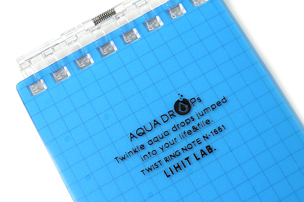 "Lihit Lab Aqua Drops Twist Ring Memo Notepad - 2.8"" X 4.7"" - 5 mm Graph - 40 Sheets - Blue - LIHIT LAB N-1661-8"