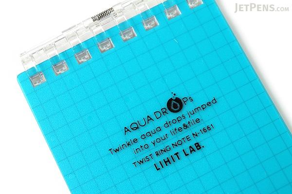 "Lihit Lab Aqua Drops Twist Ring Memo Notepad - 2.8"" X 4.7"" - 5 mm Graph - 40 Sheets - Blue Green - LIHIT LAB N-1661-28"