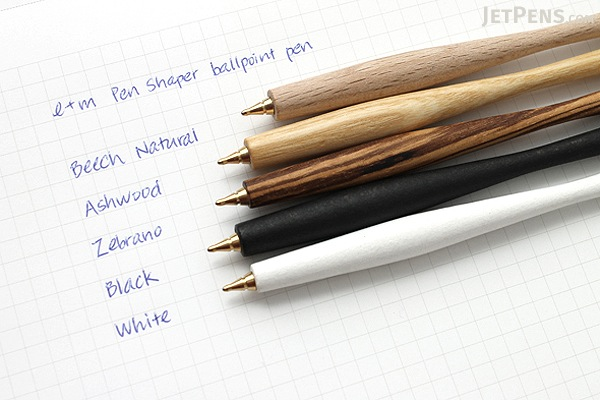 E+M Pen Shaper Ballpoint Pen - Medium Point - Blue Ink - Ashwood Body - E+M FSC2429-47
