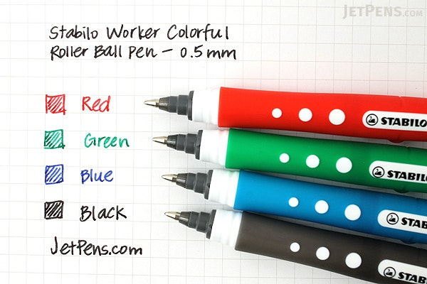 Stabilo Worker Colorful Rollerball Pen - 0.5 mm - Red - STABILO 2019-40