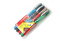 Stabilo Worker Colorful Rollerball Pen - 0.5 mm - 4 Color Set - Wallet - STABILO SW2019-4