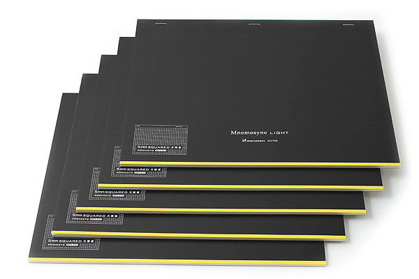 "Maruman Mnemosyne Light Notebook - A4 (8.3"" X 11.7"") - 5 mm X 5 mm Graph - 40 Sheets - Bundle of 5 - MARUMAN N170 BUNDLE"