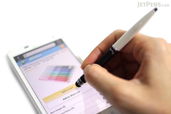 Monteverde Poquito Ballpoint Pen + Stylus - 0.7 mm - Black & White Body - Black Ink - MONTEVERDE MV10104