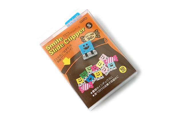 Ohto Smile Slide Clipper Paper Clip - Small - Vivid Color Set - Pack of 10 - OHTO SLS-500S-V