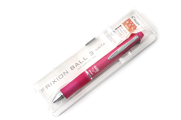 Pilot FriXion Ball 3 Metal 3 Color Gel Ink Multi Pen - Pink - PILOT LKFB150EF-P