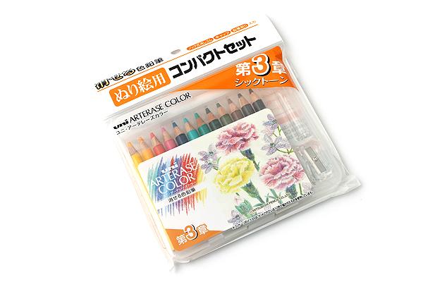 Uni Arterase Color Pencil - 12 Color Compact Set - Chic Tone - UNI UACNCS12C3