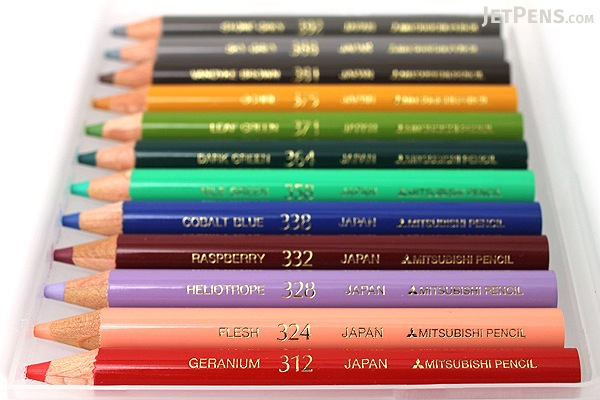 Uni Arterase Color Pencil - 12 Color Compact Set - Medium Tone - UNI UACNCS12C2