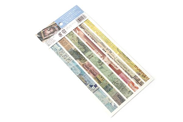 Pine Book Masking Tape Stickers - Vintage - 2 Sheets - PINE BOOK TM-88
