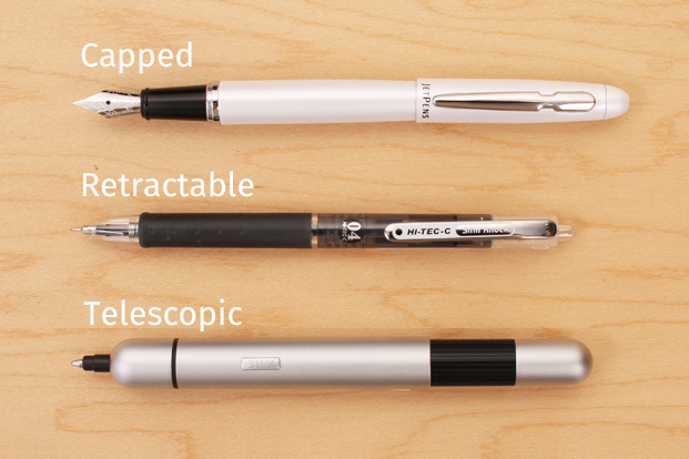 Comparing retractable, capped, and telescopic pens