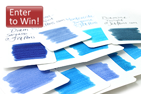 For her latest blog article, Blue Fountain Pen Ink Comparison, our resident ink expert has prepared a beautiful collection of ink swabs and writing samples to help you navigate through our sea of blue inks. As she describes, there are not only standard blues, but also blue blacks, purple blues, and turquoise blues to tickle your fancy. Discover our expert's favorites (and your own favorites!) and enter to win a bottle of ink.
