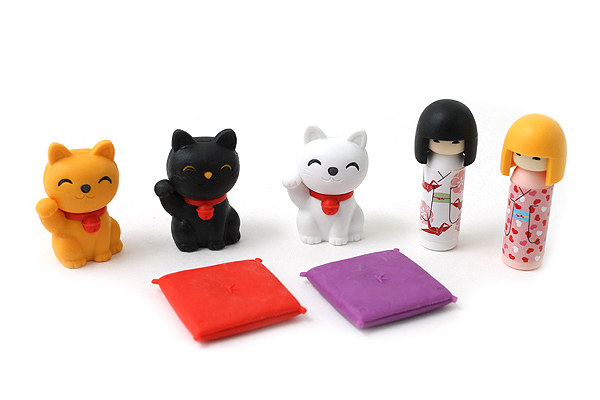 Iwako Kokeshi Dolls and Fortune Cats Novelty Eraser - 7 Piece Set - IWAKO ER-BRI020