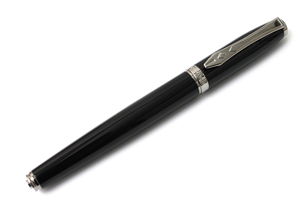 Platignum Time Fountain Pen - Medium Nib - Black Gun Metal Body - PLATIGNUM P50288