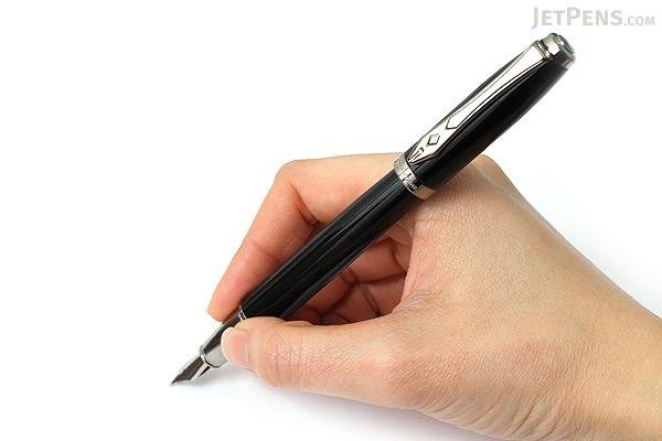 Platignum Time Fountain Pen - Medium Nib - Black Gun Metal Body - PLATIGNUM P50288