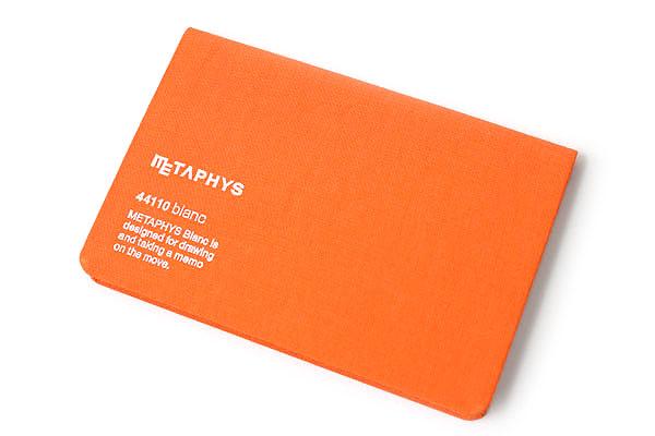 "Metaphys Blanc Fabric Cover Memo Pad - 5.1"" x 3.4"" - Orange - METAPHYS 44110-OR"