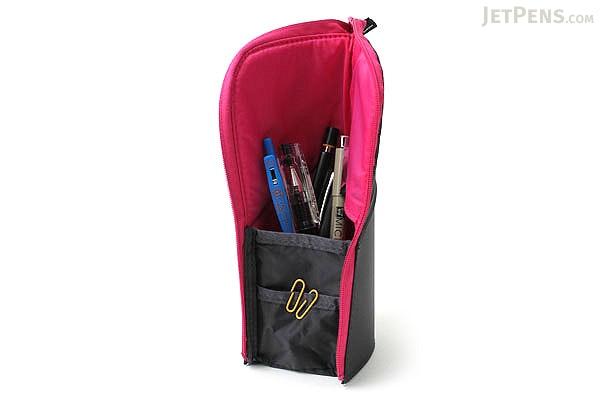 Kokuyo Neo Critz Transformer Pencil Case - Dark Gray / Pink - KOKUYO F-VBF121-4