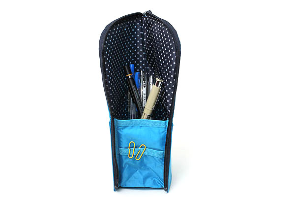 Kokuyo Neo Critz Transformer Pencil Case - Blue / Navy Dot - KOKUYO F-VBF121-7