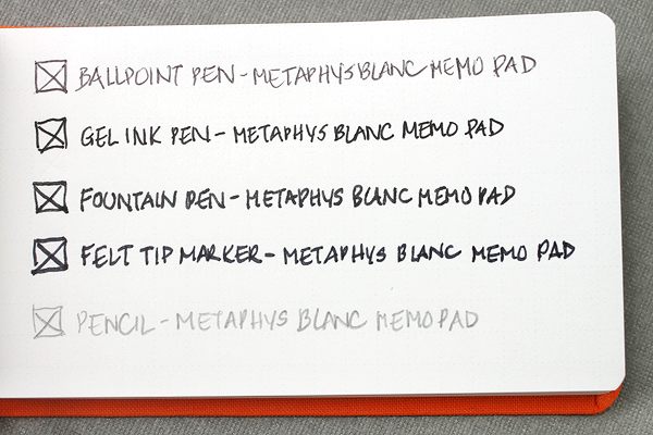 Writing Sample for Metaphys Blanc Fabric Cover Memo Pads