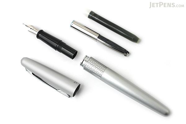 Pilot Metropolitan Fountain Pen - Silver Zigzag - Medium Nib - PILOT MRFC1BLKMSLVZ