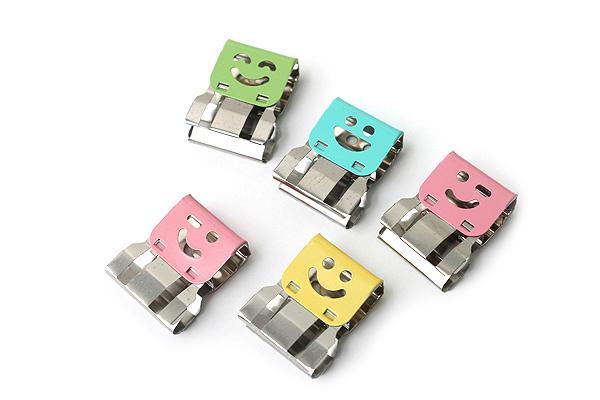 Ohto Smile Slide Clipper Paper Clip - Large - Pastel Color Set - Pack of 5 - OHTO SLS-500L-P