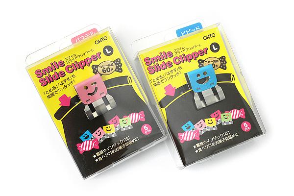 Ohto Smile Slide Clipper Paper Clip - Large - Vivid Color Set - Pack of 5 - OHTO SLS-500L-V