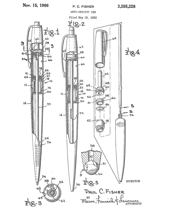 Fisher Space Pen patent drawing