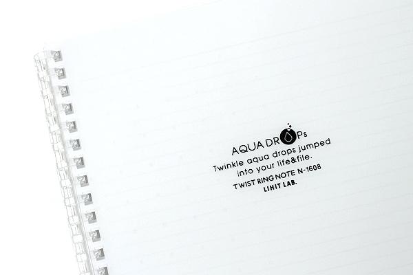 Lihit Lab Aqua Drops Twist Ring Notebook - Semi B5 - Lined - 30 Sheets - Milky White Clear - Bundle of 5 - LIHIT LAB N-1608-1 BUNDLE