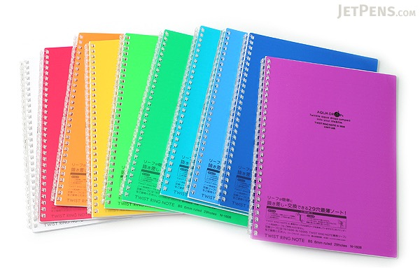 Lihit Lab Aqua Drops Twist Ring Notebook - Semi B5 - Lined - 30 Sheets - Yellow - Bundle of 5 - LIHIT LAB N-1608-5 BUNDLE