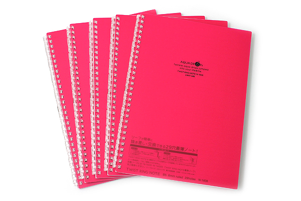 Lihit Lab Aqua Drops Twist Ring Notebook - Semi B5 - Lined - 30 Sheets - Red Pink - Bundle of 5 - LIHIT LAB N-1608-3 BUNDLE