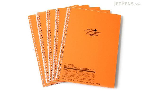 Lihit Lab Aqua Drops Twist Ring Notebook - Semi B5 - Lined - 30 Sheets - Orange - Bundle of 5 - LIHIT LAB N-1608-4 BUNDLE